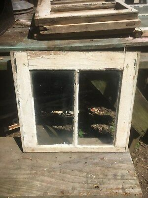 Vtg RARE Small Farm Country 19x18 Pane Wood Window Sash Cottage Shabby White
