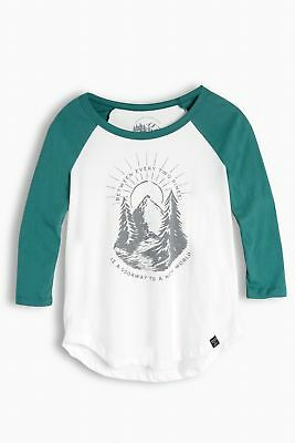 United By Blue W's Two Pines Baseball Tee, Teal/Cream, L