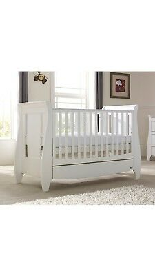 RRP: £329 White Tutti Bambini Lucas Kate Sleigh Cot Bed -for 70 x 140cm mattress