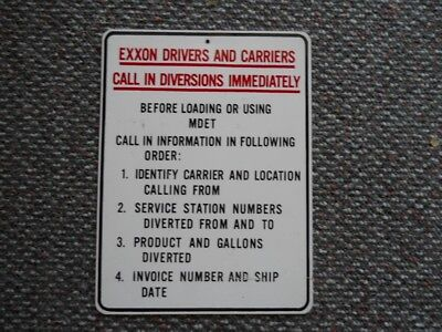 """Exxon Enamel """"drivers And Carriers"""" Diversion Sign."""
