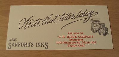 "Circa 1920 Advertising Ink Blotter~""SANFORD'S INKS"" Fresno CA~C.H. Reige Co~"