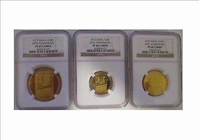 1973 Israel 25th Anniversary 3 Gold Coin Proof Set 200, 100, 50 Lirot NGC Cert