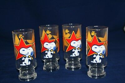 """Peanuts Snoopy Superstar  6 1/2"""" Drinking Glasses Set Of 4"""