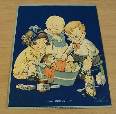 """VTG LARGE 7"""" x 8 3/4"""" 1930's ADVERTISING Card~""""The 666 CLINIC""""~Quack Medicine~"""