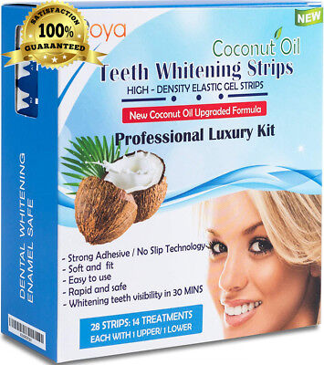 3D Teeth Whitening Strips with Natural Coconut Oil by WOYA-28 Enamel Safe...