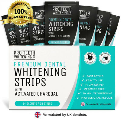 Premium Dental Teeth Whitening Strips with Activated Charcoal |...