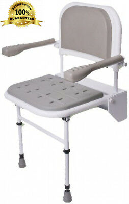 NRS Healthcare Folding Shower Seat with Legs, Padded Seat, Backrest and...