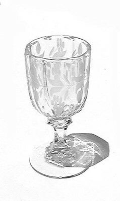 Antique Floral Etched Panel Optic Crystal Liqeur Glass