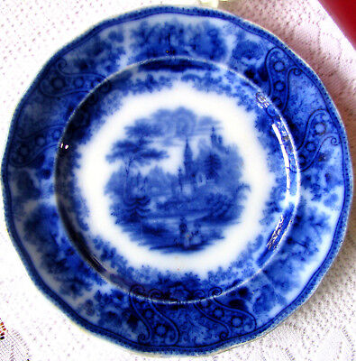 "Middleport Pottery Antique Flow Blue Burgess Leigh Nonpareil 7 3/4"" Plate c1870s"