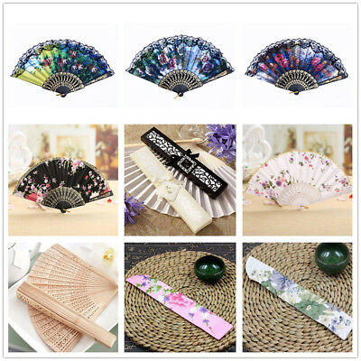 UK Ladies Wood/Silk Hand Fan &Fan Holder Chinese/ Spanish Style for Dance Party