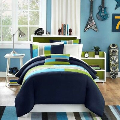 Teen Comforter Set Boys Bedding Sets Twin Xl Bed Size Kids Blue Green Grey  Teal