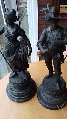 Antique French 19th Century Large Spelter Bronzed Figures in Superb Condition