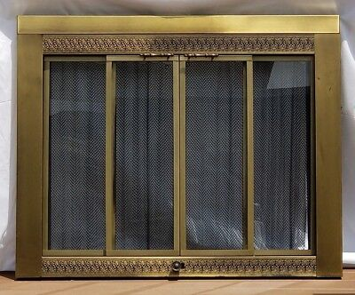 Vintage Brass Fireplace Screen Beautiful Open Or Closed 4000