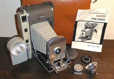 Polaroid 800 folding instant Land Camera, leather case, accessories, little used