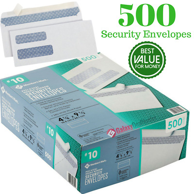 Number 10 Double Window Envelope Member Mark 10 Security Envelope Mailing 500ct