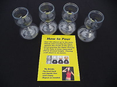 4 Plastic Quaffers Double Bubble Layered Jigger Shot Glasses Jager Bomb Party
