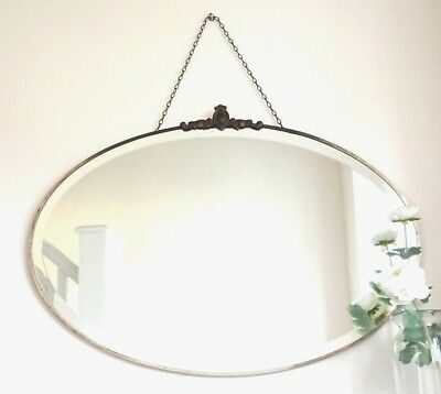 Large Art Deco Wall Mirror 30s Framed Bevelled Oval Crested Bronze Vtg Antique