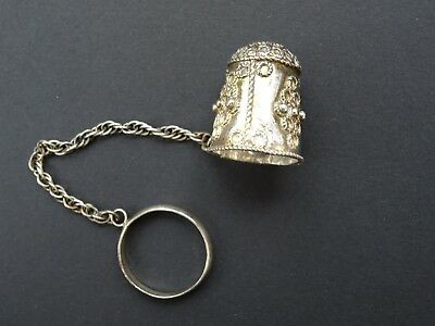 Vintage 925 Silver Filigree Thimble with Chain & Attached Ring Ornate Decorative
