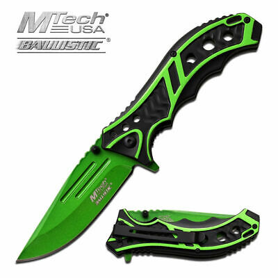 "8.25"" MTECH USA Green SPRING ASSISTED Tactical FOLDING POCKET KNIFE Assist Open"