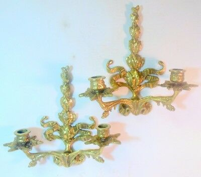 Vintage Pair Brass/Bronze Wall Candle Sconces french BOW KNOT Botanical Leaves