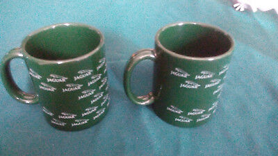 Pair (2) Vtg Rare Jaguar Automobile Car Logo Coffee Mug Green Ceramic Made USA