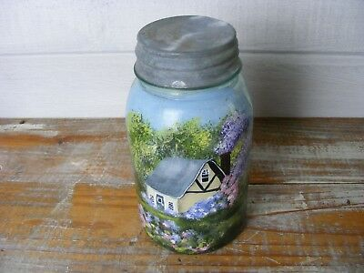 Aqua Blue Atlas Mason Jar Hand Painted Country Home Scene