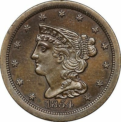 1854 Braided Hair Half Cent, Cleaned BU 1/2C Brilliant Uncirculated