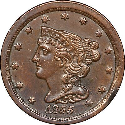 1855 Braided Hair Half Cent, Cleaned AU 1/2C About Uncirculated