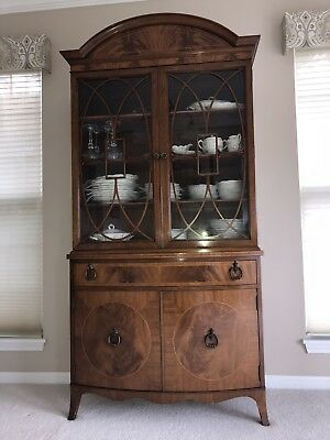 Antique China Cabinet-circa early 1900's-Walnut-made in Wisconsin-storage drawer