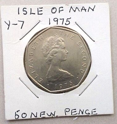 SCARCE 1975 Isle of Man Viking Ship Large , Fifty 50 Pence Coin .