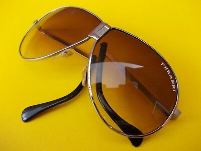 RARE FERRARI VINTAGE AVIATOR SUNGLASSES 1980s NEVER BEEN USED IN LEATHER POUCH