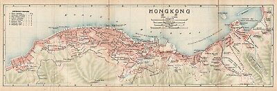 Original antique 1915 very rare map of Hong Kong, China- 香港