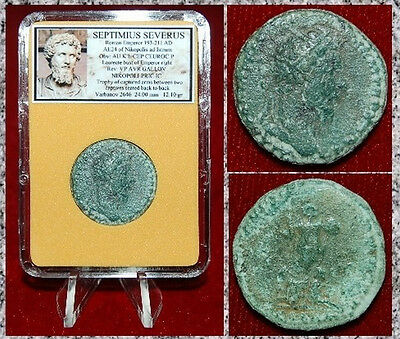 Ancient Roman Coin SEPTIMIUS SEVERUS Two Captives And Trophy On reverse