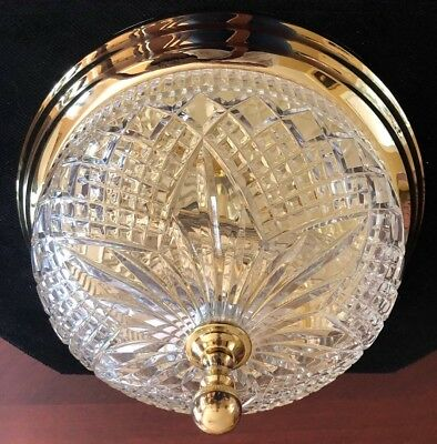 """WATERFORD FLUSH MOUNT CRYSTAL BRASS CHANDELIER COLONIAL FIXTURE 12"""" 2 Available"""