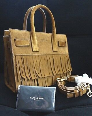 New Yves Saint Laurent Baby Sac De Jour Fringe Suede Crossbody Satchel Purse