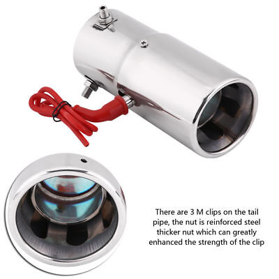 Spitfire Car LED Exhaust Pipe Muffler Steel Staineless Red Light Chrome 70mm