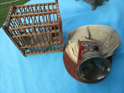 Antique Mining Collection Of Items Miners Bird Cage And Miners Hat With Light