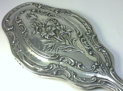 Antique Art Nouveau hallmarked Sterling Silver Backed  29cm  Mirror – 1907
