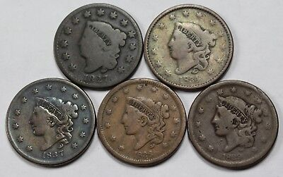 5x Large Cent Lot Matron Young Head Mixed Date Old US Coin Coins NR P3R Lot 2