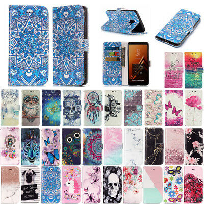 For Samsung Galaxy A8 A8+ 2018 Cute Pattern Leather Flip Wallet Card Case Cover