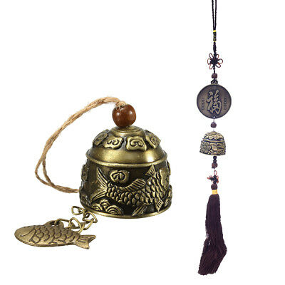 2pcs Chinese Bronze Wind Chime Good Luck Wealth Health Prayer Feng Shui Bell