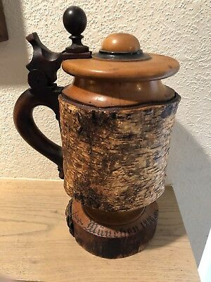 Antique Unusual German Wood Large Carved Beer Stein Tree Trunk Form 1886