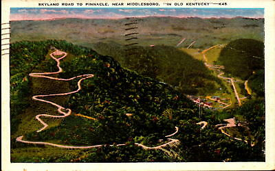 Postcard Skyland Road to Pinacle Middlesboro Old Kentucky