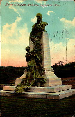 Postcard Statue of William McKinley Springfield Mass.