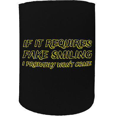 Stubby Holder if it requires fake smiling funny Funny Novelty Christmas Koozie