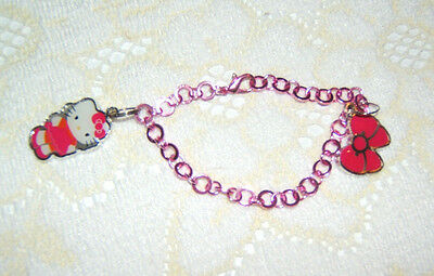 """Hello Kitty Bracelet Pink Metal with Kitty & Bow & 18"""" HK Shiny Metal Necklace"""