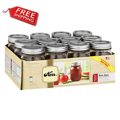 Kerr Wide Mouth Half-Pint 8 Oz Glass Mason Jars with Lids and Bands 12Count USA