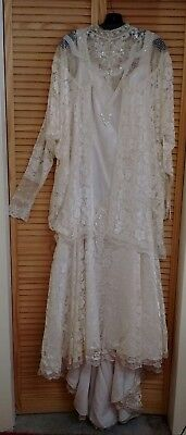 Vintage 1980's Ivory Lace Wedding Dress with Pearls & Sequins- Plus Size 18-20
