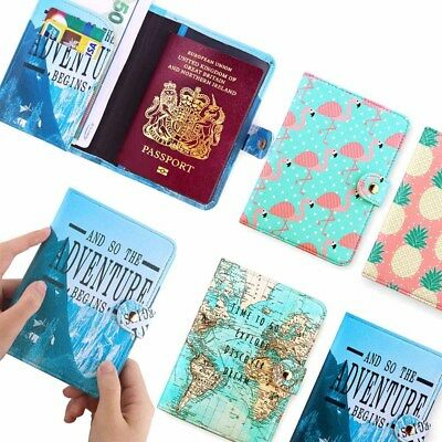 Vintage World Map Passport Cover ID Holder Wallet Case Travel Luggage Tag New