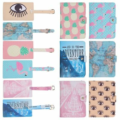 World Map Flamingo Passport Cover Holder Wallet Case Luggage Tag Travel Holiday